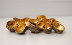 gold leaf acorn cups