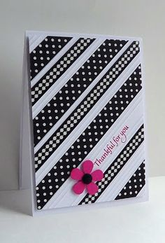 handmade card ... black and white with a splash of hot pink .. diagonally placed patterned washi tape ... fancy scoring betwee each strip of tape ... luv this card ...