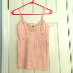 AE summer tank! Light pink with black polka-dots and brown lace at the top! Adjustable spaghetti straps. American Eagle Outfitters Tops Tank Tops