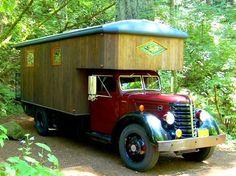 The Flying Tortoise: Meet The Big Maroon. A Beautiful Mobile Home Atop A 1949 Federal Farmtruck. Tent Campers, Camper Caravan, Gypsy Caravan, Gypsy Wagon, Camper Van, Farm Trucks, Big Trucks, Truck House, Bus House