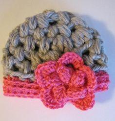 387c658b513 New Baby Winter Hat Beanie Handmade Crochet Grey Pink Flower Newborn