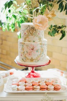 Watercolor Painted Wedding Cake and Macarons