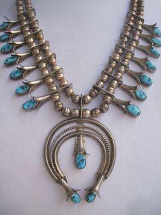 Vintage NAVAJO Sterling Silver & TURQUOISE Squash Blossom Necklace, Doris SMALLCANYON