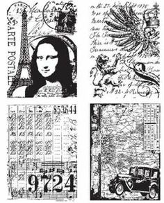 *Tim Holtz Cling Rubber Stamps ARTISTIC COLLAGES Stampers Anonymous