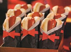 Hot Dogs...Tissue Paper Tuxedo's-- @Amelia Barela omg we can wrap them in bacon and make em extra fancy too lol :)