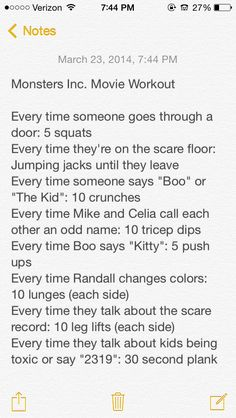 Monsters Inc. Movie Workout