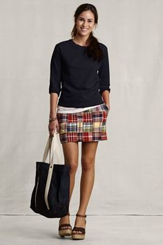 Cute & casual...love the madras skirt.  That's the preppy in me ;). NOT in a miniskirt!!
