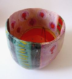 Medium pot with with big orange globe on interior and pink lustre spots | Linda Styles