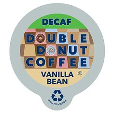Double Donut Coffee Decaf Vanilla Bean Flavored Coffee Single Serve Cups For Keurig K Cup Brewer 24 count -- For more information, visit image link.