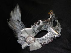 New to TheCraftyChemist07 on Etsy: Silver Feather Masquerade Mask - Made to Order (35.00 USD)