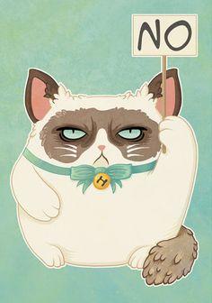 Grumpy Cat Maneki Neko Holding NO Sign. Illustrated Lucky Cat Postcard