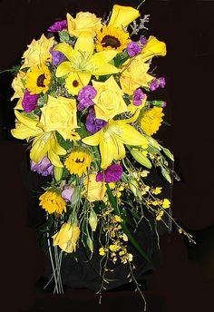 Yellow and Purple  Wedding Bouquet With Lilies, Roses, Sunflowers, Orchids and Callas by Westosha Floral, via Flickr- LOVE SUNFLOWERS :)