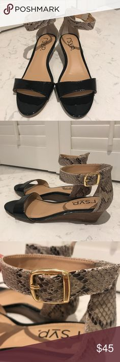 ✨SALE✨NWOT RSVP Logan Low wedge with ankle strap NWOT - RSVP Logan Low wedge with ankle strap. Dramatic black patent look with snake print contrast. Gold buckle closure on ankle. Never worn! RSVP Shoes Sandals