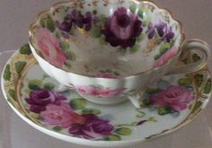 Vintage Hand-Painted Roses 3-Toed Porcelain Teacup Set from lilacvintage on Ruby Lane
