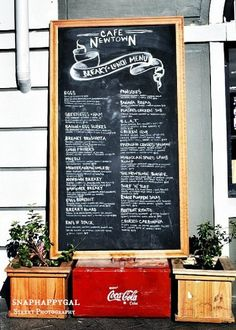 Cafe Newtown Chalkboard Menu Coca Cola Coke Street by snaphappygal