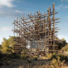 Japanese architect Sou Fujimoto has designed a house encased in a lattice of giant sticks as part of a series of dream houses proposed for Spain's Matarraña region