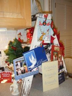 use for your old step ladder, eulalia Ladder Storage, Old Ladder, Ladders, Gift Wrapping, Seasons, Mini, Cute, Cards, Gifts