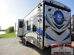 """2015 New Evergreen Rv Tesla 3950 Toy Hauler in Texas TX.Recreational Vehicle, rv, At The RV Guys There Is No """"SURPRISE!"""" cuz all we DO is find the best RV for YOU."""