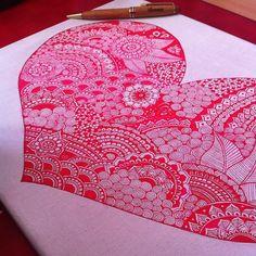 """Close up ❤️ #zentangle #love #art #universe #boho #hippie #gypsy #mandala #doodle #drawing #heart #henna #cancerfree #doodle #tattoo #ink #beautiful_mandala #quote…"""