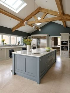 Modern Kitchen Interior Spacious Open Plan Kitchen – Tom Howley - A spacious kitchen featuring statement blue island plays host to the latest cutting edge appliances from Sub-Zero, Wolf and Miele. Barn Kitchen, Living Room Kitchen, Home Decor Kitchen, Kitchen Ideas, Kitchen Inspiration, Kitchen Walls, Kitchen Cabinets, Kitchen Layouts, Kitchen Canisters