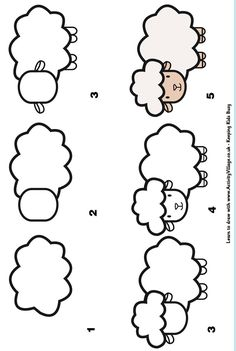 learn to draw a sheep (Drawing Step Learning) Drawing Lessons For Kids, Art Drawings For Kids, Pencil Art Drawings, Doodle Drawings, Drawing Tips, Cartoon Drawings, Animal Drawings, Art Lessons, Children Drawing