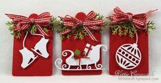 KC Tags -Fast and Easy Tags...I have some fast and easy tags to share with you today. I love how crisp white images look against a red background for Christmas projects. The addition of a multi loop gingham bow and a few evergreen sprigs are the perfect finish. I used the Impression Obsession Skates, Ornament Flourish and the Savvy Dies Deer and Sleigh for the main images, -