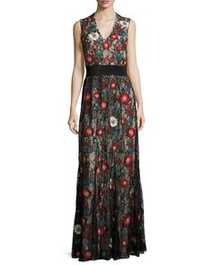 Sleeveless Embroidered Lace Column Gown, Black/Multicolor