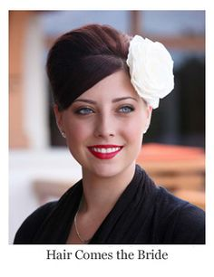 1950's inspired bridal hairstyles with hair flower and red lips. vintage bridal hair and makeup by Hair Comes the Bride