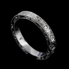 Platinum 950 Art Deco Style Hand Engraved Wedding Band Ring