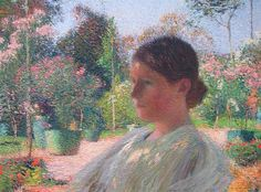 In the Garden, 1904 by Henri Martin. Divisionism. portrait. Palais des Beaux-Arts de Lille, Lille, France