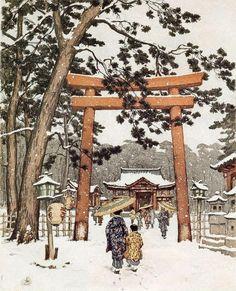 Japanese Tori Gate of Kyoto in Winter, Paintings by Tavik Frantisek Simon.