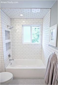 need built-ins in shower area; SUBWAY tile- remodeled bath 4men1lady