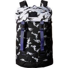 Burton Tinder Pack (Modern Floral) Backpack Bags ($49) ❤ liked on Polyvore featuring bags, backpacks, black, floral pattern backpack, print backpacks, vintage floral backpack, draw string backpack and vintage rucksack