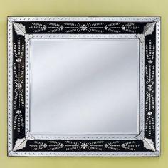 Eleina Black Venetian Wall Mirror - 55W x 50H in. - VG-094 BLACK