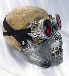2 pc. set of Silver Pewter Distressed-Look Hannibal Lecter Steampunk Dust Riding MASK with Matching GOGGLES - A Burning Man Must Have