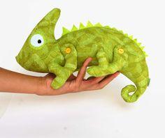 Chameleon soft toy kids Cotton blue stuffed animal by RomeoShop Felt Diy, Felt Crafts, Baby Toys, Kids Toys, Mixed Up Chameleon, Fabric Animals, Woodland Creatures, Amigurumi Toys, Soft Sculpture
