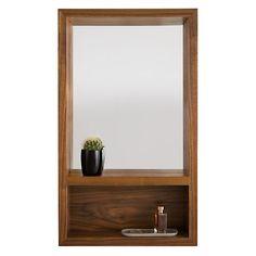 Loft Modern Mirrors with Shelf - Loft 20x34 Mirror with Shelf in Walnut - Where to Hang Mirrors - Room & Board