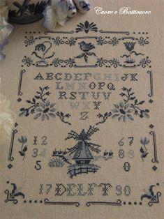 Delft cross stitch Sampler