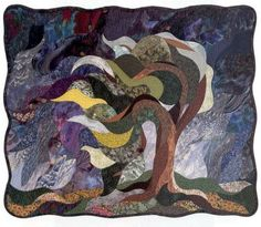"Mourning Quilt: Breaking Point, by Vikki Pignatelli. ""This tree is a tribute to endurance. When stress becomes overwhelming, one way to survive is to bend and ride out the storm rather than fight against it."""