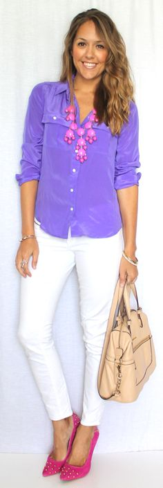 Such a pretty color combination for spring.  Pink, Lavender & White.  jseverydayfashion.com