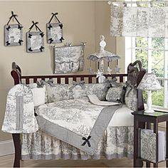 @Overstock - This gray toile themed nine piece baby bedding set was created by JoJo Designs. This set includes a blanket, crib bumper, crib skirt, fitted sheet, toy bag, decorative throw pillow, diaper stacker, and two window valances.http://www.overstock.com/Baby/French-Toile-9-piece-Crib-Bedding-Set/5298428/product.html?CID=214117 $179.99