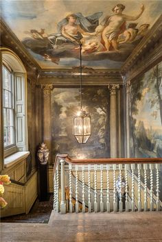 Painted wall mural and ceiling