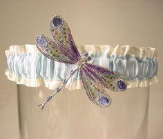 wedding garter Winged DRAGONFLY Handpainted a von PetereneDesign, $24.00