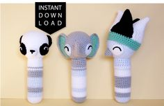 Crochet pattern: These amigurumi rattles are a sensory buffet for babies, with lots of pointy bits, interesting textures, bold features, AND rattles inside!
