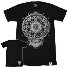 'Mandethala' Extended T-Shirt (Black) (€21) ❤ liked on Polyvore featuring tops, t-shirts, oversized tops, patterned tops, print top, pattern tees and unisex t shirts