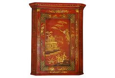 19th-century English chinoiserie corner cabinet. Flat front, one door with two interior shelves.