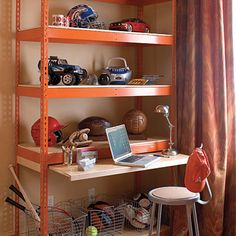 Hardworking Furniture                                          Make a room masculine with rugged pieces. This cool, boy-friendly desk is made out of a budget-friendly industrial shelving                                            unit.