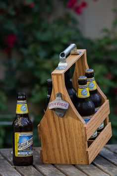 Beer caddy that is handmade out of solid wood. by CincoWorks