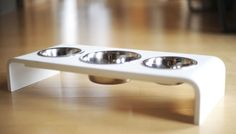 4 Inch Elevated Triple Bowl Feeders Perfect for the TWO Pet Family