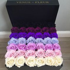 Pimple violet color rose bouquet on We Heart It Flower Box Gift, Flower Boxes, Beautiful Roses, Beautiful Flowers, Bouquet Box, Blue Bouquet, Luxury Flowers, Romantic Gifts, Bunt
